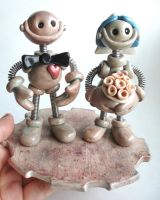 Stoneware Style Robot Wedding Cake Topper by HerArtSheLoves
