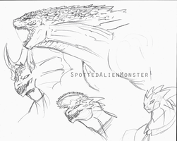 Sketches:  Godzilla and Dreams by SpottedAlienMonster