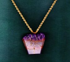 Amethyst and Gold Wire-Wrap Pendant {Made by Me} by Empress-XZarrethTKon