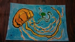 Jellyfish with Food Coloring by THUNDRkitty
