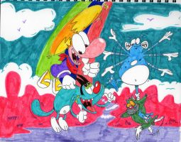 Oggy and Rayman- Rainbow Frolics by spongefox