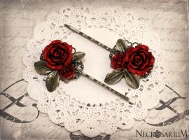 Rose Leaf Hair Pins by Necrosarium