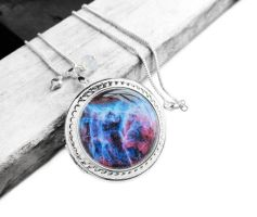 Blue and Pink Nebula Locket Necklace by crystaland