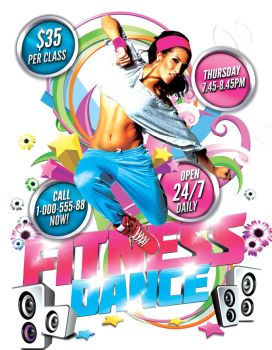 Fitness Dance Flyer by inddesigner