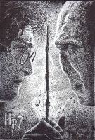 Harry Potter and Voldemort Pointillism by Jamguri