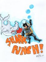 Batman Vs Shark by johnnyism