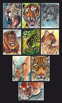 ACEO Wild Cat Series - Originals and Prints ETSY! by NadiavanderDonk