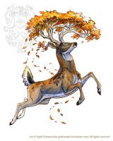 Autumn Stag Tattoo by pallanoph