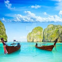 Longtail boats at Maya bay by MotHaiBaPhoto