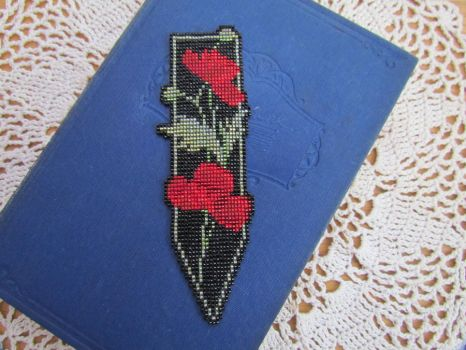 Beadwork Poppy bookmark by Autumn-beads
