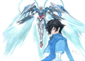 Gundam 00 Raiser and Setsuna F. Seiei by Nick-Ian