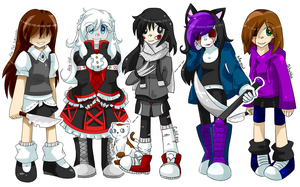 Creepypastas OCs (female) by kaleePANDA