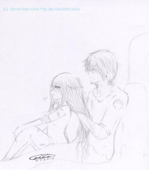 How will I ever- Mitsuo and Satsuki - Sketch by StrawberriOnTop