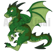 Green Dragon - Commission by linai