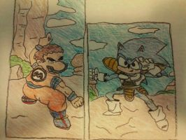 Mario vs Sonic by laguerrt