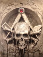 Skull and bones, square and compass 01 by Stelf-2014