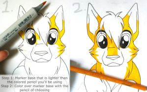 Tutorial: Marker Base for Colored Pencils by Italian-Pitbull
