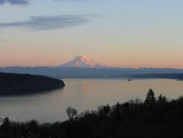 Rainier Over the Sound by visp