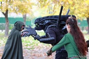 Alien and an Ithilian Ranger and an elf by V-kony