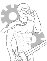 Sexy Dave Lineart by Karisean