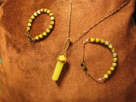 Lemon Quartz 'n Copper Necklace 'n Bracelet Set 1 by Windthin