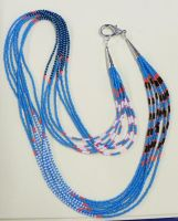 Turquoise Blue seed bead necklace by artefaccio