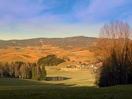 Peaceful panorama with warm colors by patrickjobst