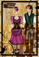 Steampunk Rapunzel and Eugene by HelleeTitch