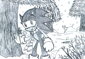Sonic lost in the Winter Wood by DarkCatSoul