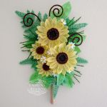 French Beaded Sunflower and Fern Wall Bouquet by LaurenHCreations