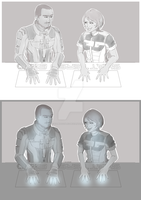 Commish - Jacob and Femshep by kamidoodles