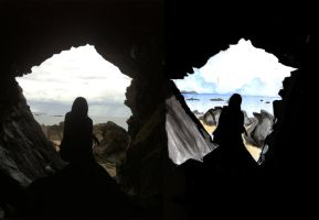 girl in a cave on the beach 2 by Bartok88