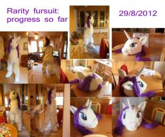 Rarity Fursuit WIP 29/8/2012 by FoxOFWar