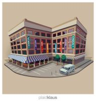 Building Illustration Roanoke Center in the Square by plaidklaus