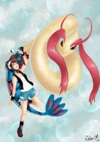 PKMN- Touko and Milotic by Nelan-Dil