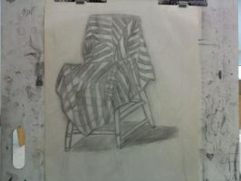 Chair with a Striped Sheet by SeeMooreDesigns