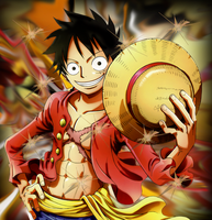 One Piece Monkey D Luffy Smudge by Justawesome6