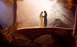 Arwen and Aragorn by theartofTK