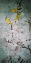 Chinese ink painting + birds by choong-ie