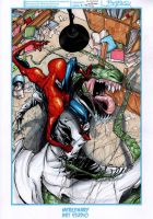 spidey vs the lizard colored by kourmpamp