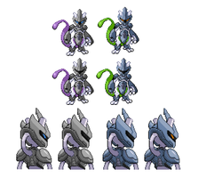 Armored Mewtwo: Battle Sprite and Back Sprite v2 by Othienka