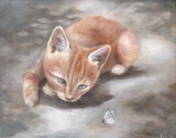 cat and butterfly by nadja-mariina