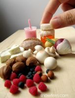 1:4 Scale miniature nuts, berries, bread etc by Snowfern