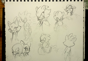 Sonic Doodles by XenMetalWolf