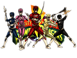 Mighty Morphin Power Rangers! by kyomusha