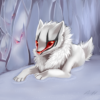 Deep in a Ice cave by Skeleion