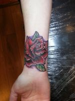 old school rose color tattoo by Marleytattooart