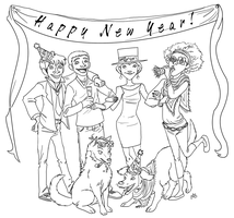 New Year's Art Collab Lineart by LOBrien