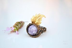 Amethyst wire wrapped ring with brass leaf by IanirasArtifacts
