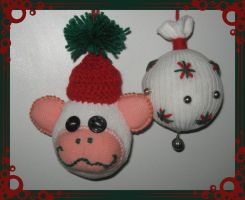 more Sock-mas tree ornaments by DarkDollArt